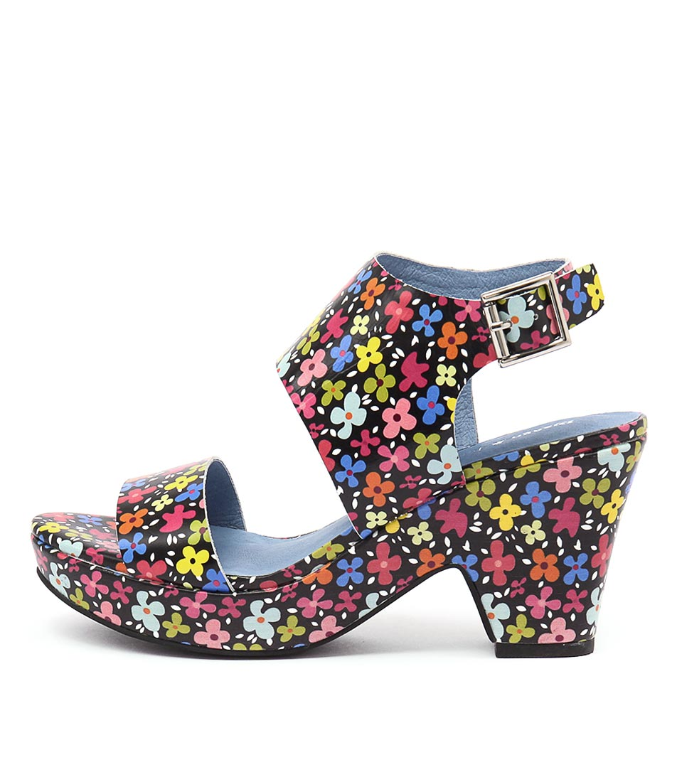 Django & Juliette Endevour Black Floral Casual Heeled Sandals
