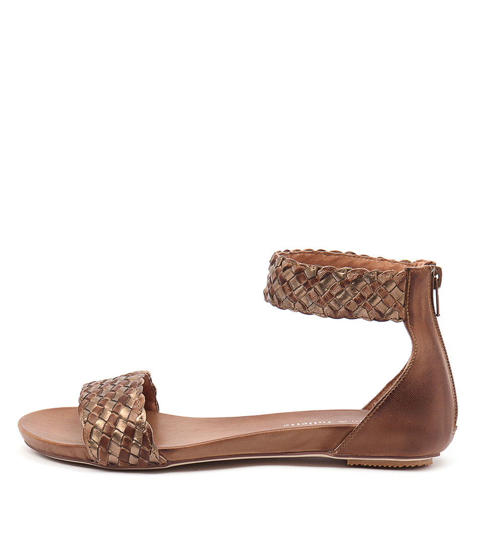 Django & Juliette Gamree Tan Bronze Casual Flat Sandals