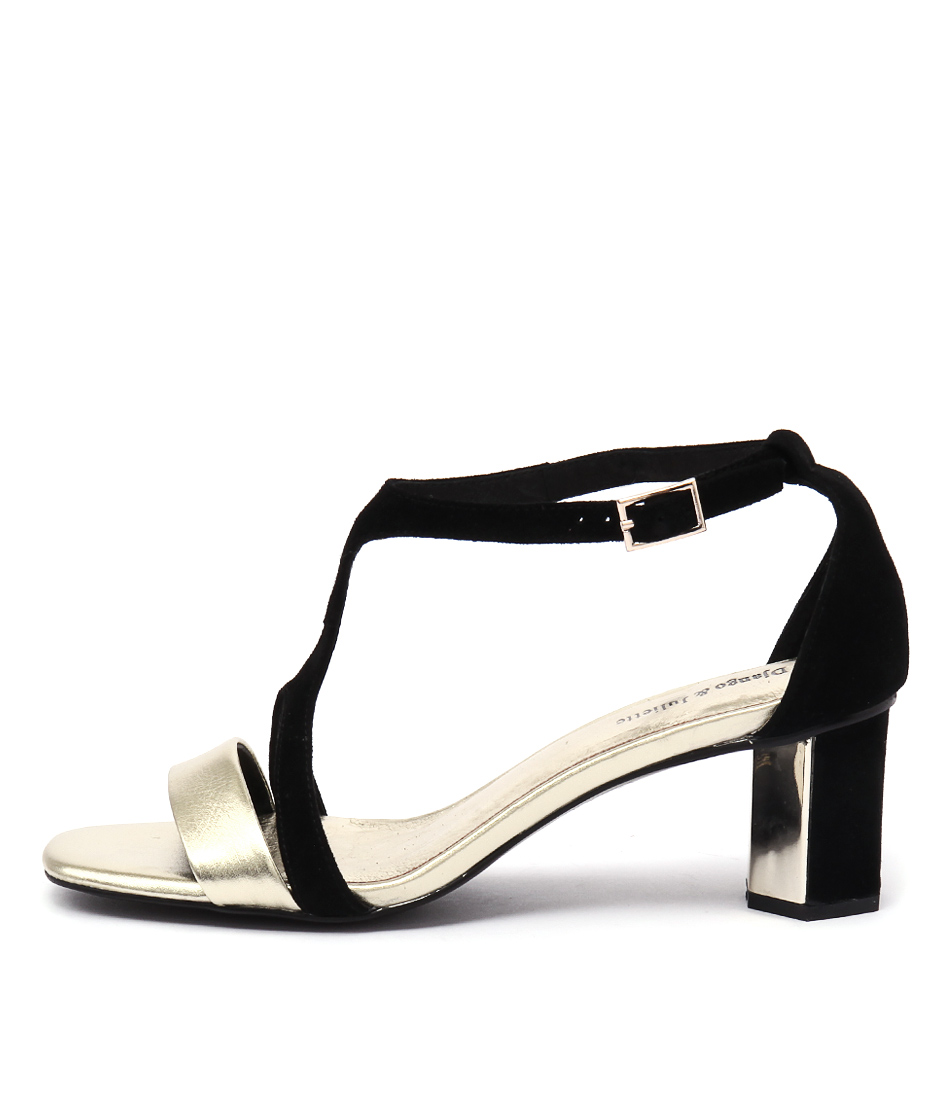 buy Django & Juliette Glimpse Gold Black Heeled Sandals shop Django & Juliette Sandals online