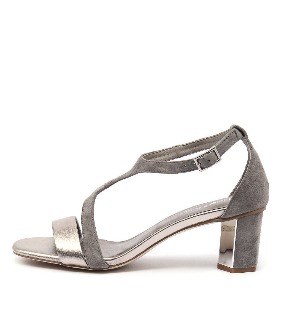 Django & Juliette Glimpse Light Pewter Light Grey Dress Heeled Sandals