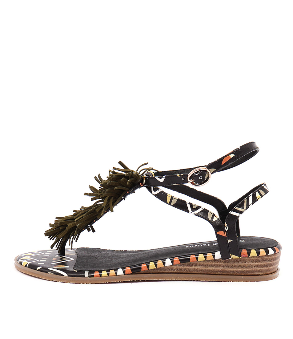 Django & Juliette Hayer Black Tribal Khaki Sandals