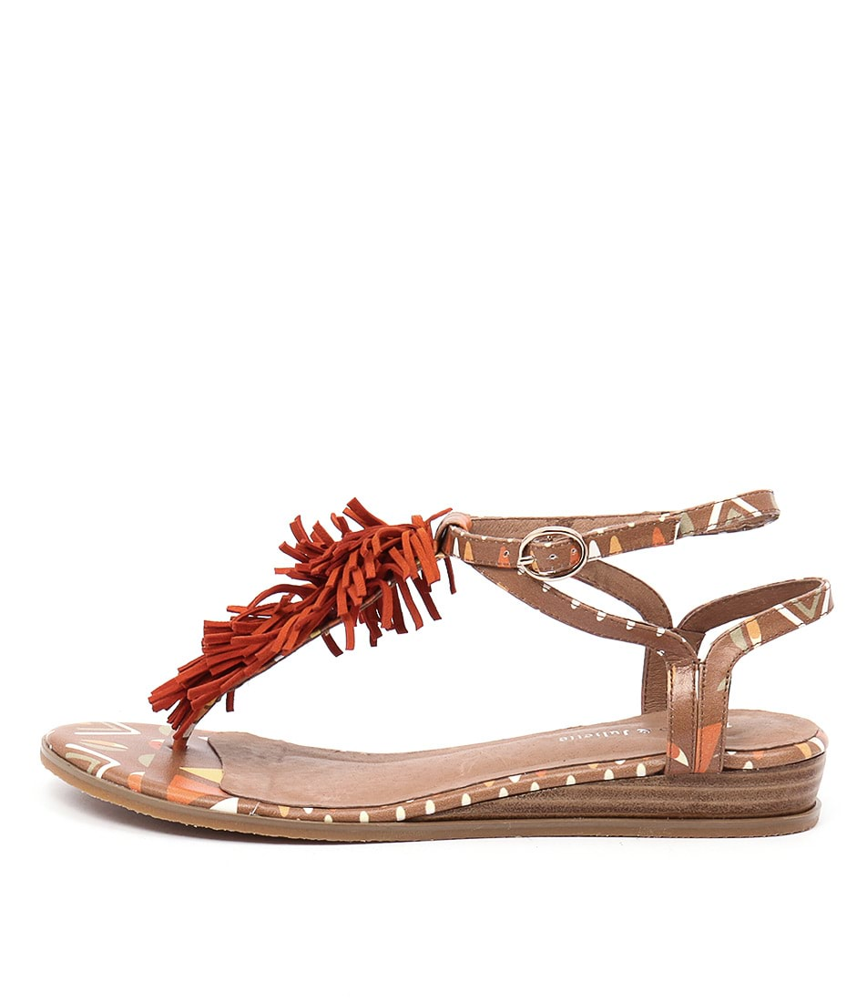 Django & Juliette Hayer Tan Tribal Orange Casual Flat Sandals