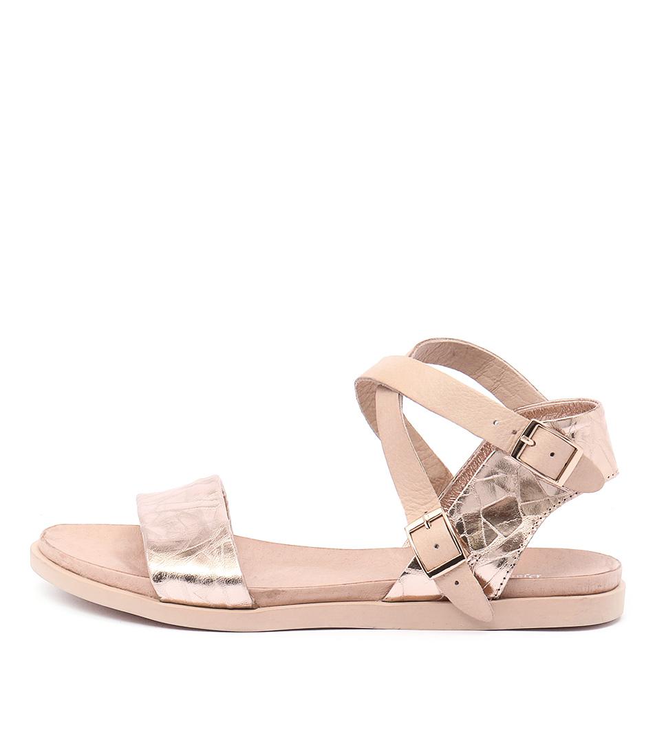 Django & Juliette Hoppy Rose Gold Nude Casual Flat Sandals