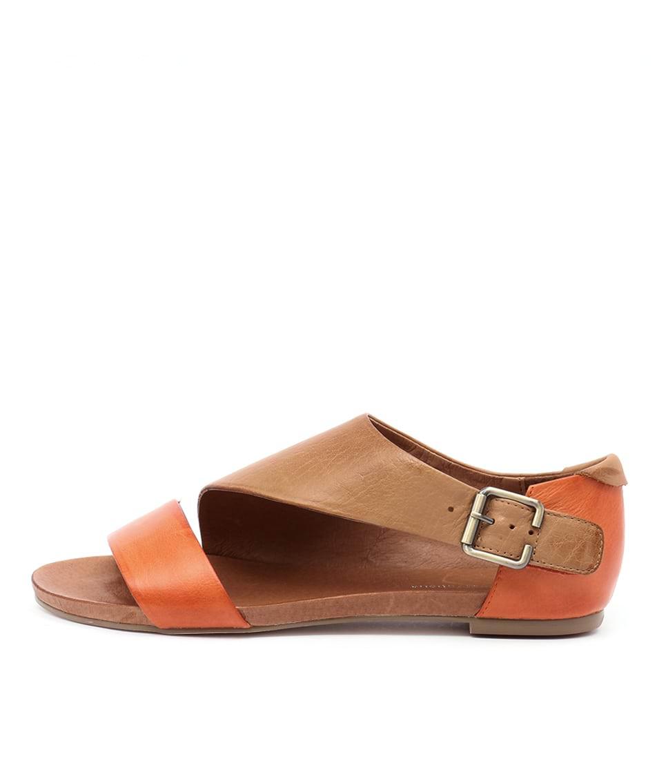 Django & Juliette Jimini Orange Tan Flat Sandals