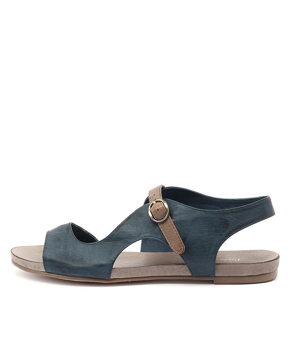 Django & Juliette Jacobi Navy Taupe Strap Casual Flat Sandals