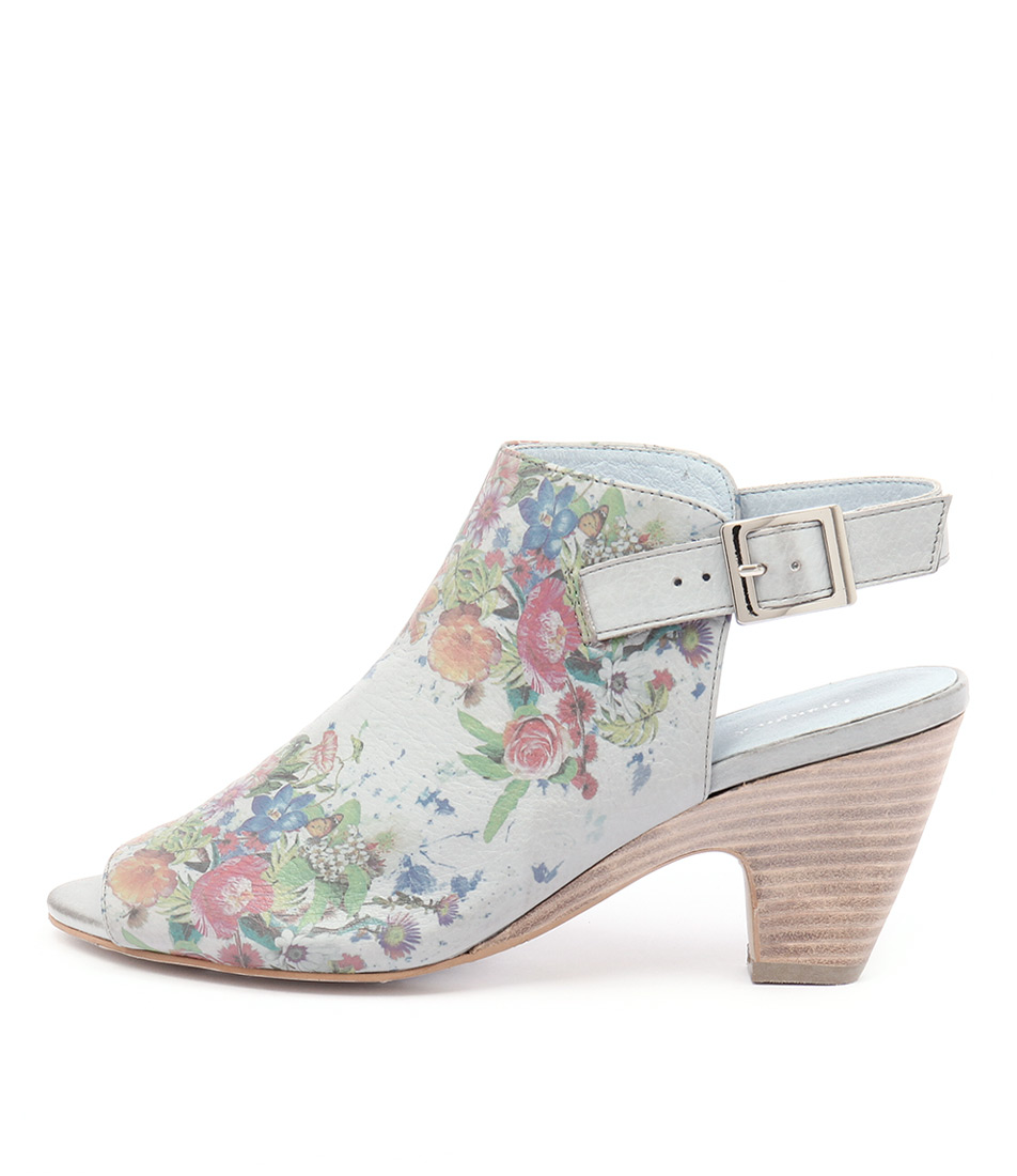 Django & Juliette Kara Blue Grey Flower Sandals