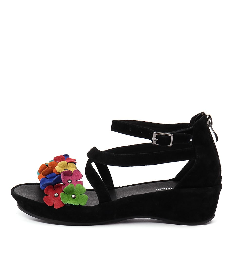 Django & Juliette Londa Black Bright Flowers Casual Heeled Sandals