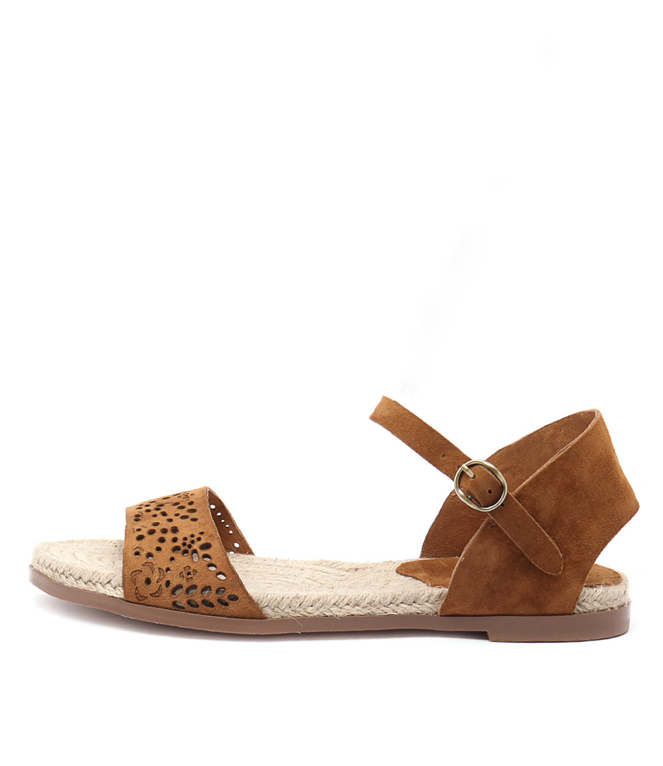 Django & Juliette Miles Tan Flat Sandals buy  online