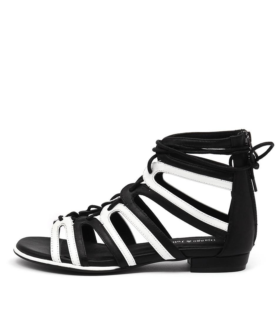Django & Juliette Odessa Black White Dress Flat Sandals