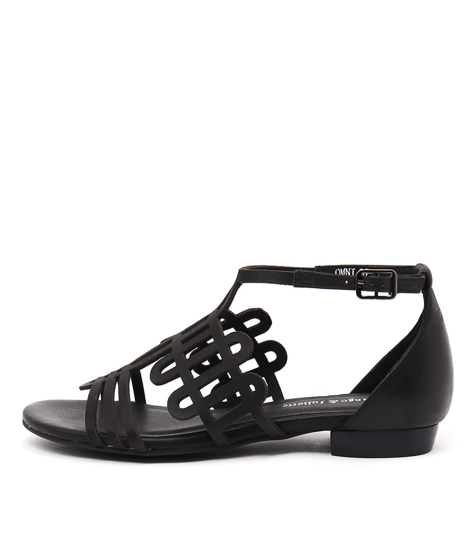 Django & Juliette Omni Black Casual Flat Sandals