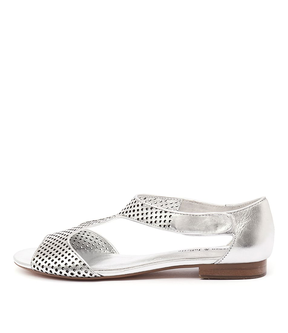 Django & Juliette Paiges Silver Casual Flat Sandals