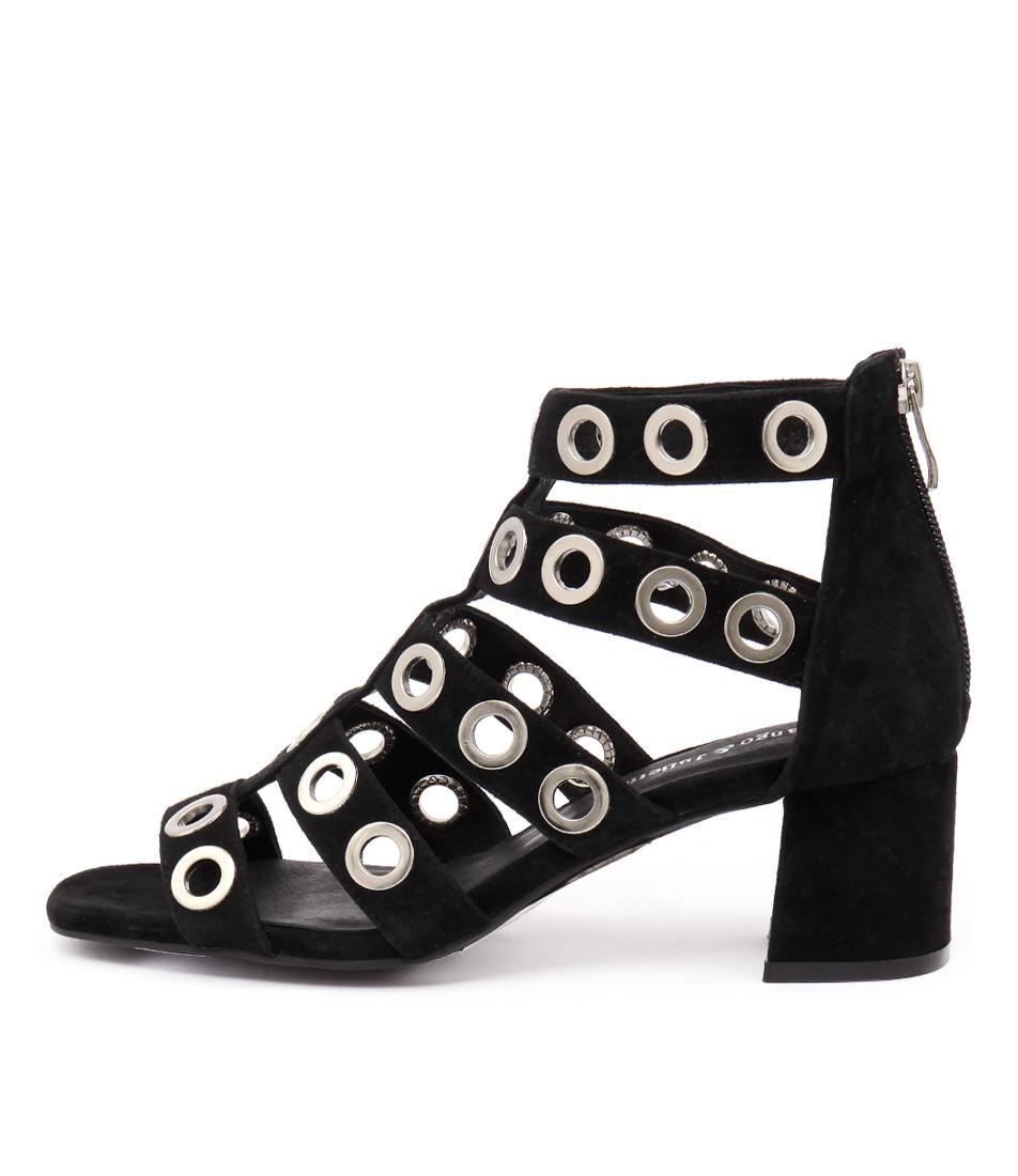 Django & Juliette Polla Black Casual Heeled Sandals