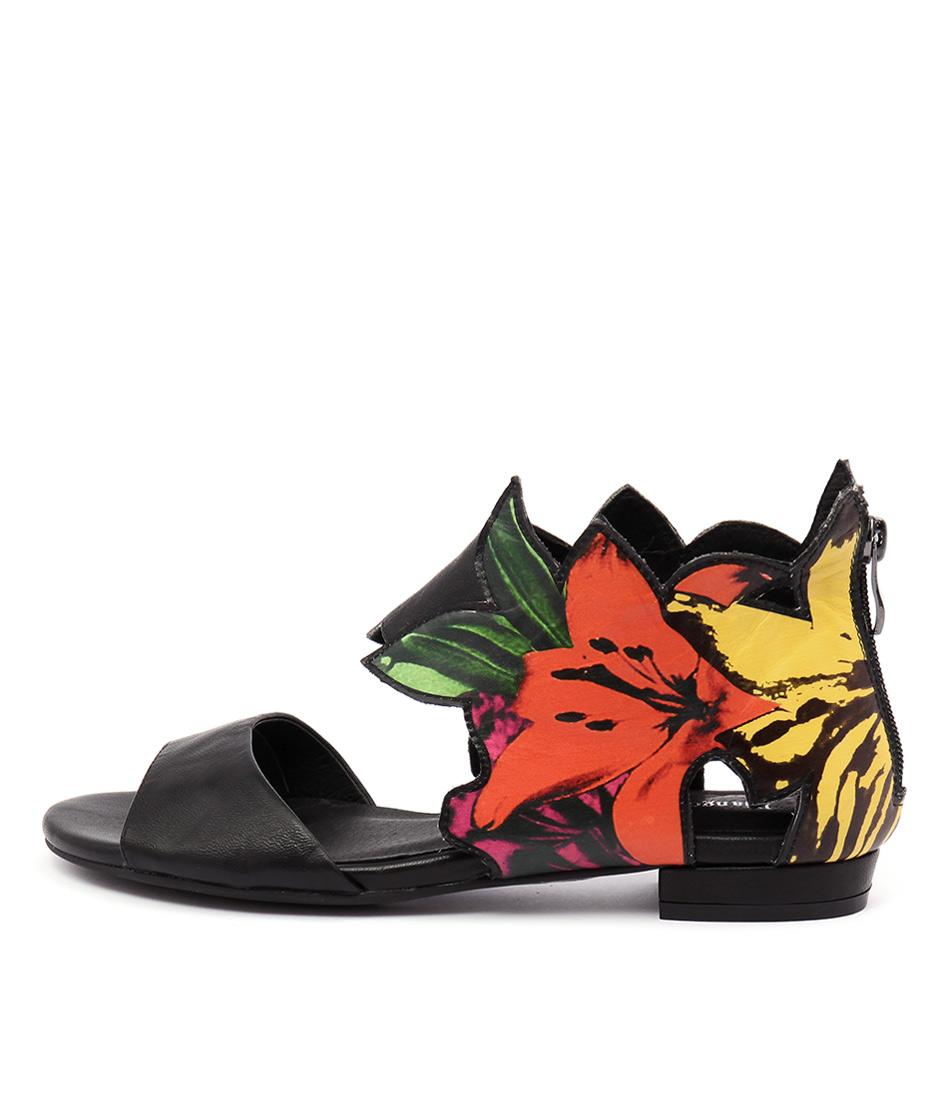 Django & Juliette Qaky Black Orange Floral Sandals