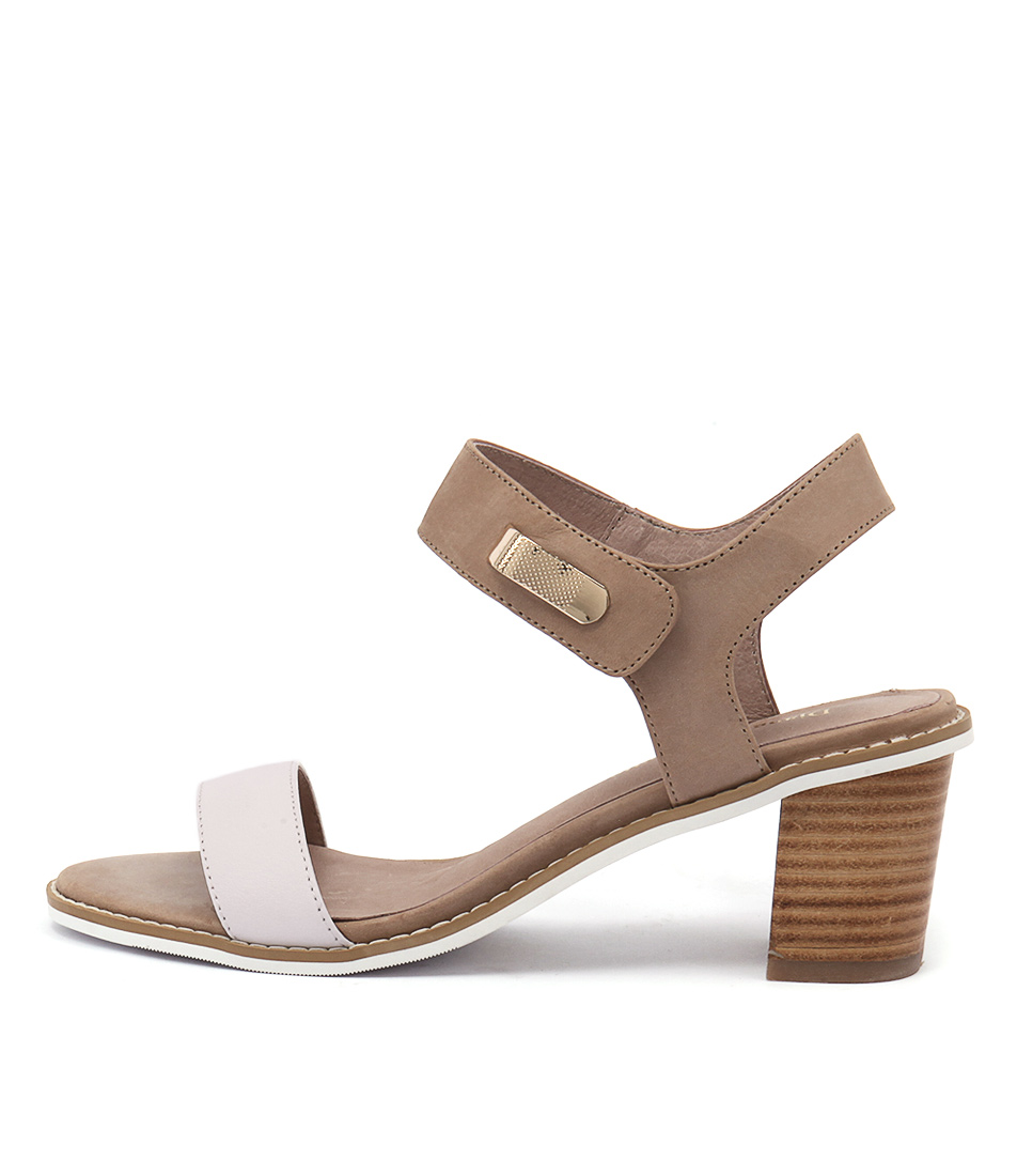 Django & Juliette Quno White Latte Dress Heeled Sandals