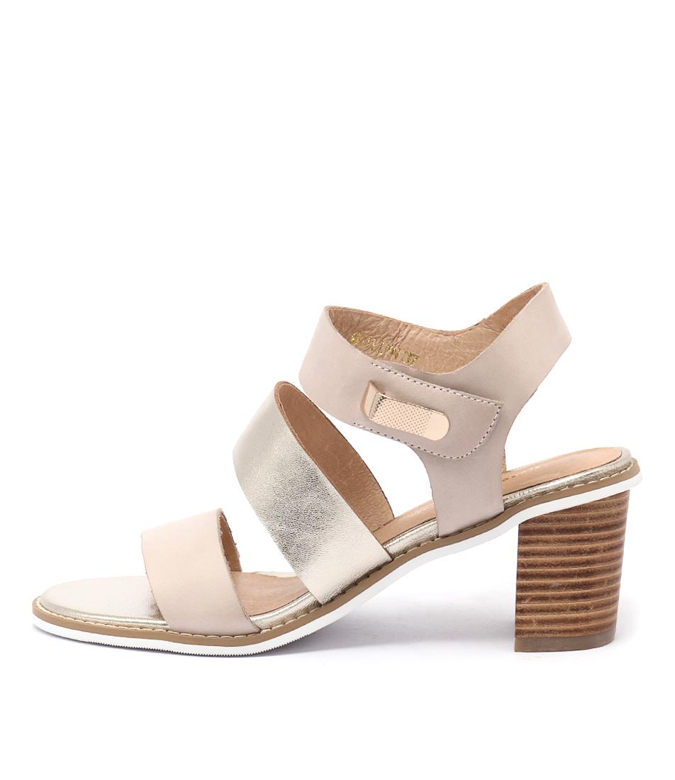 Django & Juliette Quillen Beige Pale Gold Casual Heeled Sandals