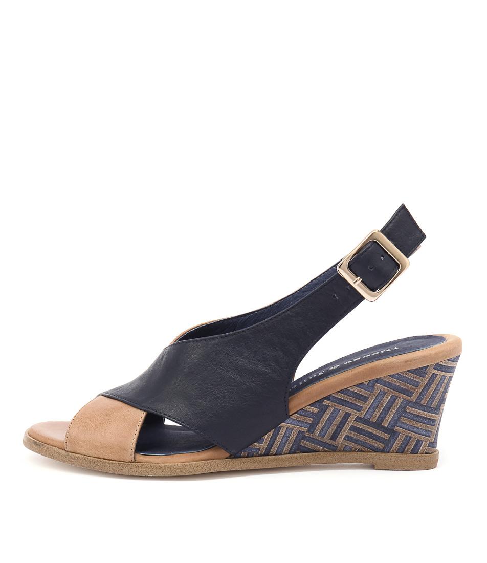 Django & Juliette Ulohin Tan Navy Navy Multi Heel Heeled Sandals