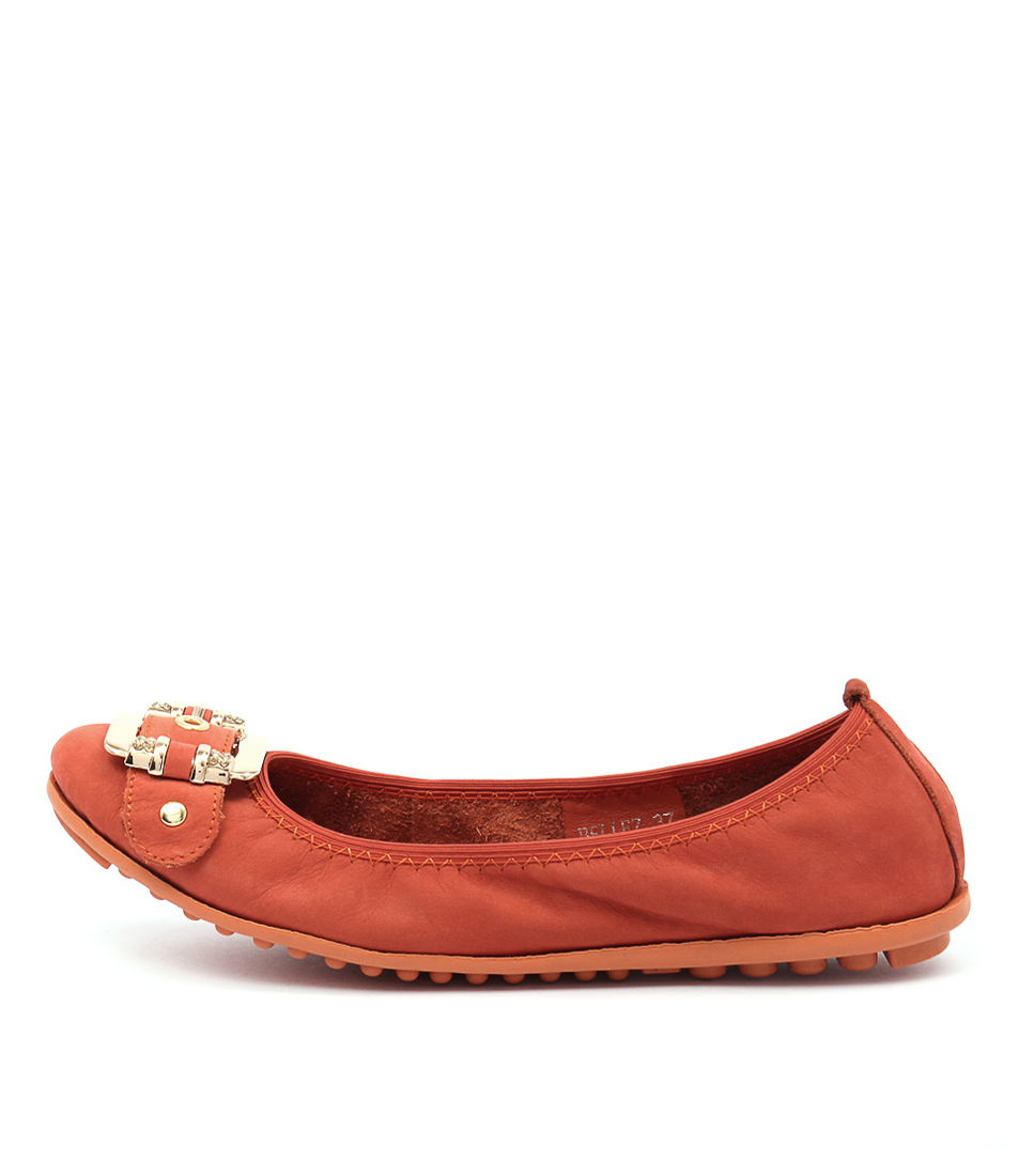 Django & Juliette Bellez Orange Comfort Flat Shoes