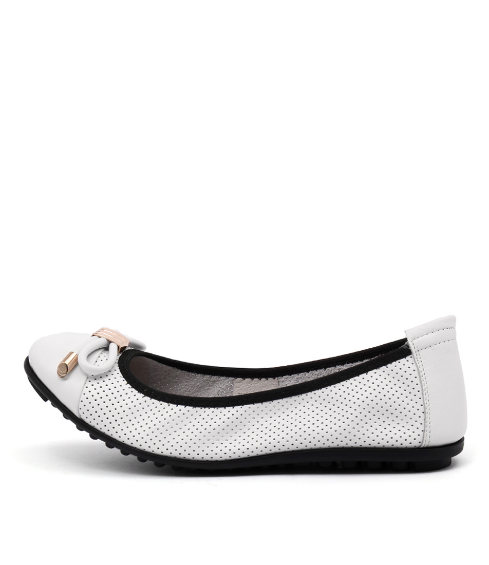Django & Juliette Buzby White Black Casual Flat Shoes
