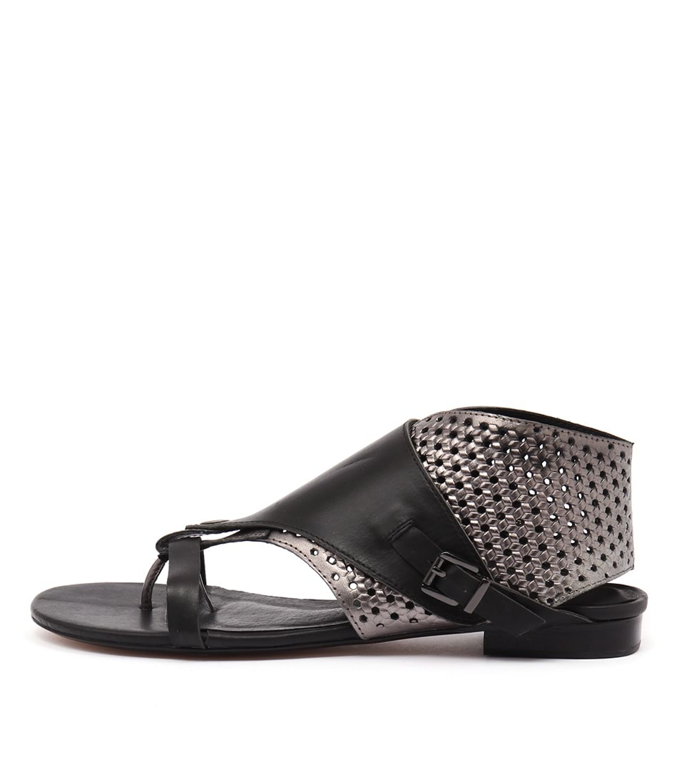 Django & Juliette Prickles Black Pewter Sandals