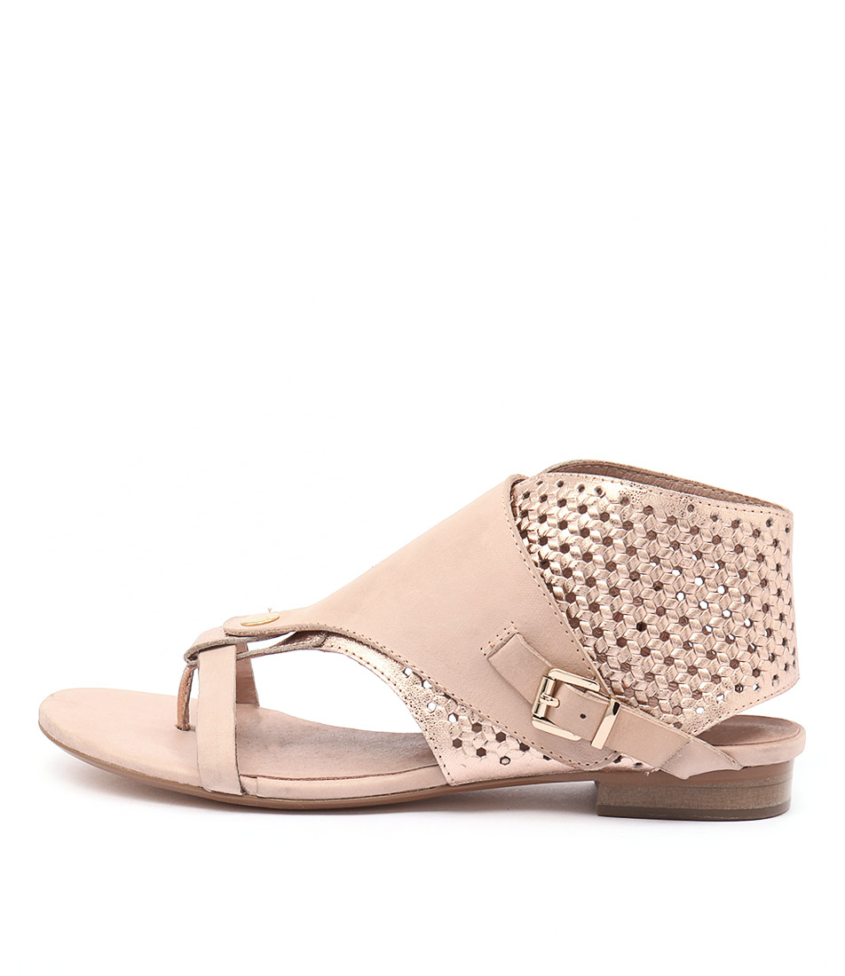 Django & Juliette Prickles Dark Nude Rose Gold Casual Flat Sandals