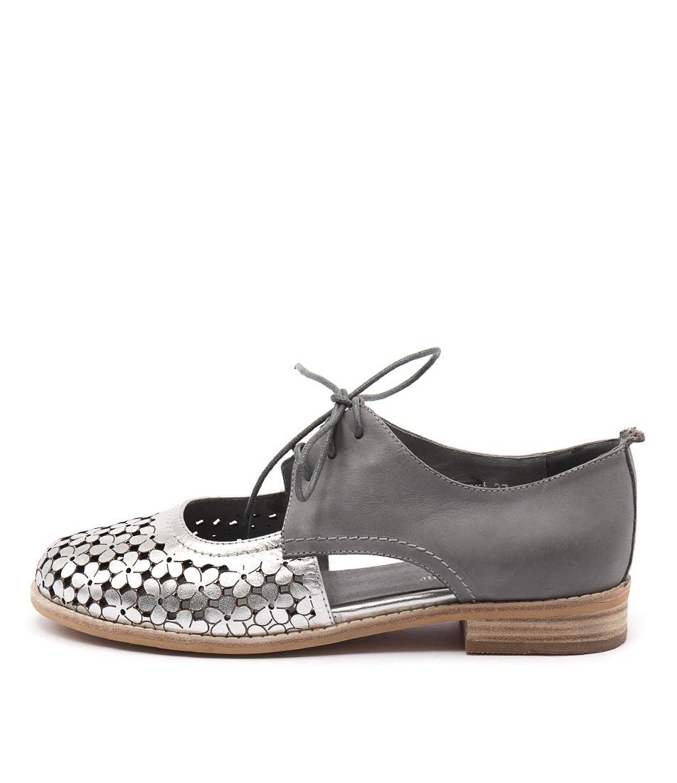 Django & Juliette Amara Silver Blue Grey Flat Shoes