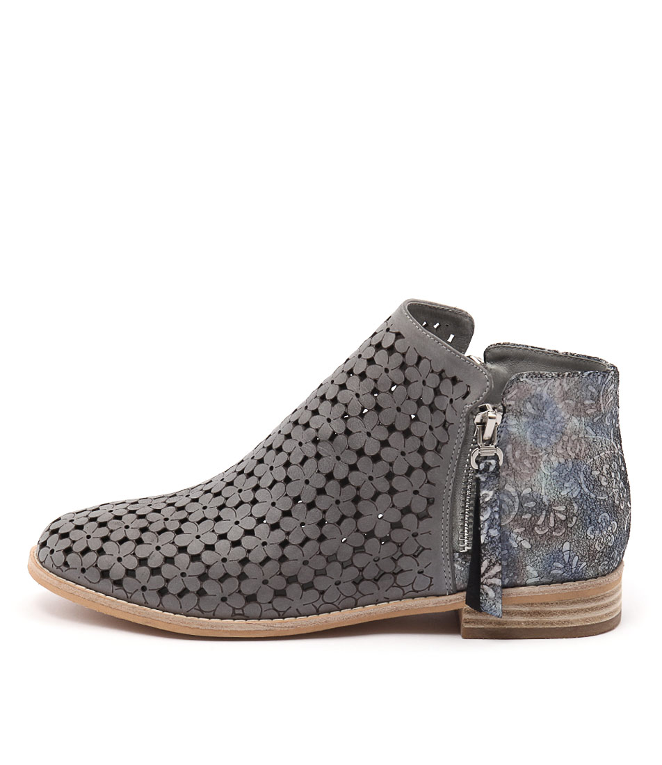 Django & Juliette Alex Blue Grey Pastel Multi Casual Ankle Boots