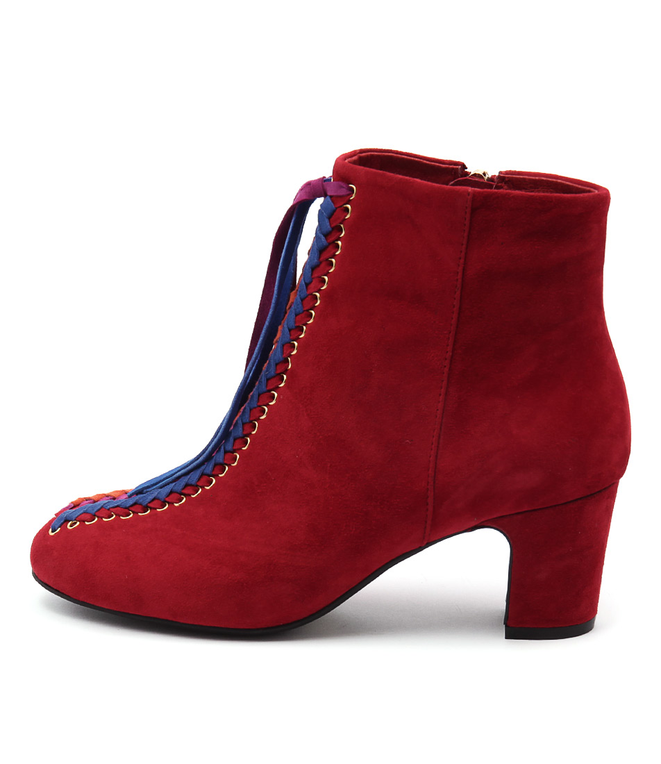 Django & Juliette Eloped Red Bright Multi Casual Ankle Boots