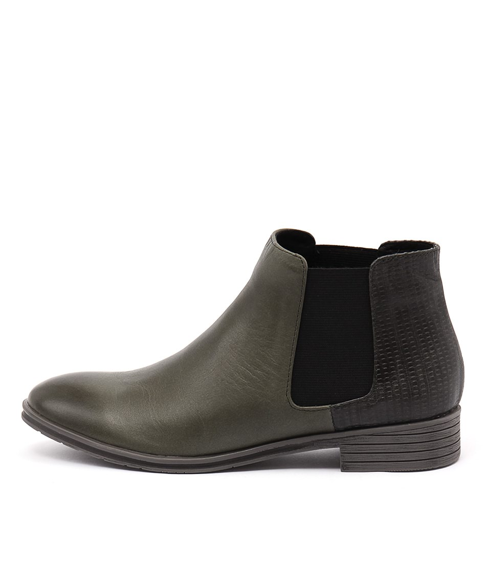 Django & Juliette Fali Olive Casual Ankle Boots