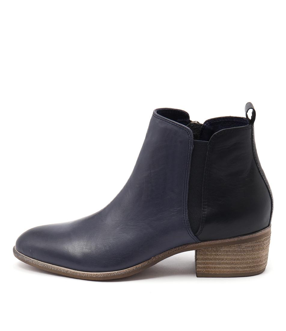 Django & Juliette Hostie Dk Blue Navy Ankle Boots