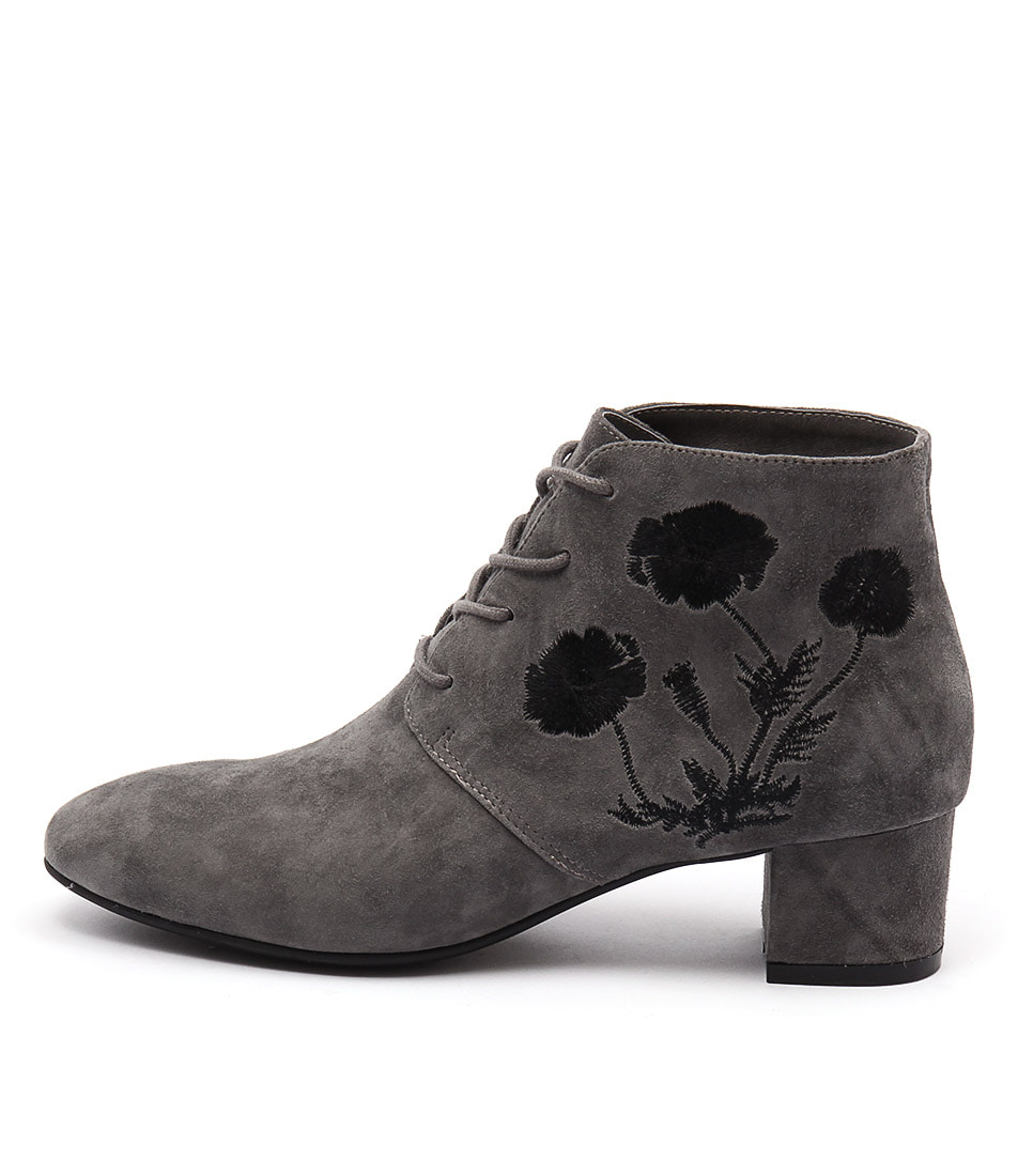 Django & Juliette Jacinda Grey Grey Black Embroidery Ankle Boots