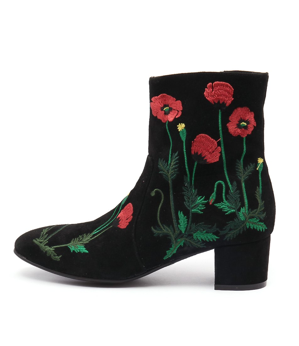 Django & Juliette Jackie Black Red Embroidery Ankle Boots