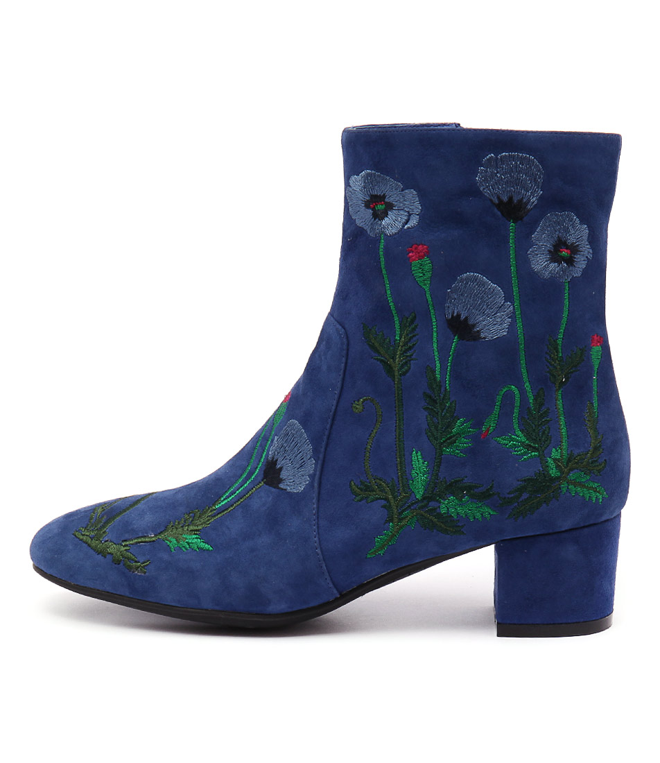 Django & Juliette Jackie Blue Blue Embroidery Casual Ankle Boots
