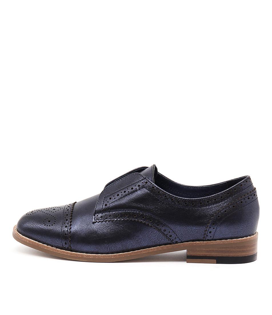 Django & Juliette Lanes Navy Metallic Flat Shoes