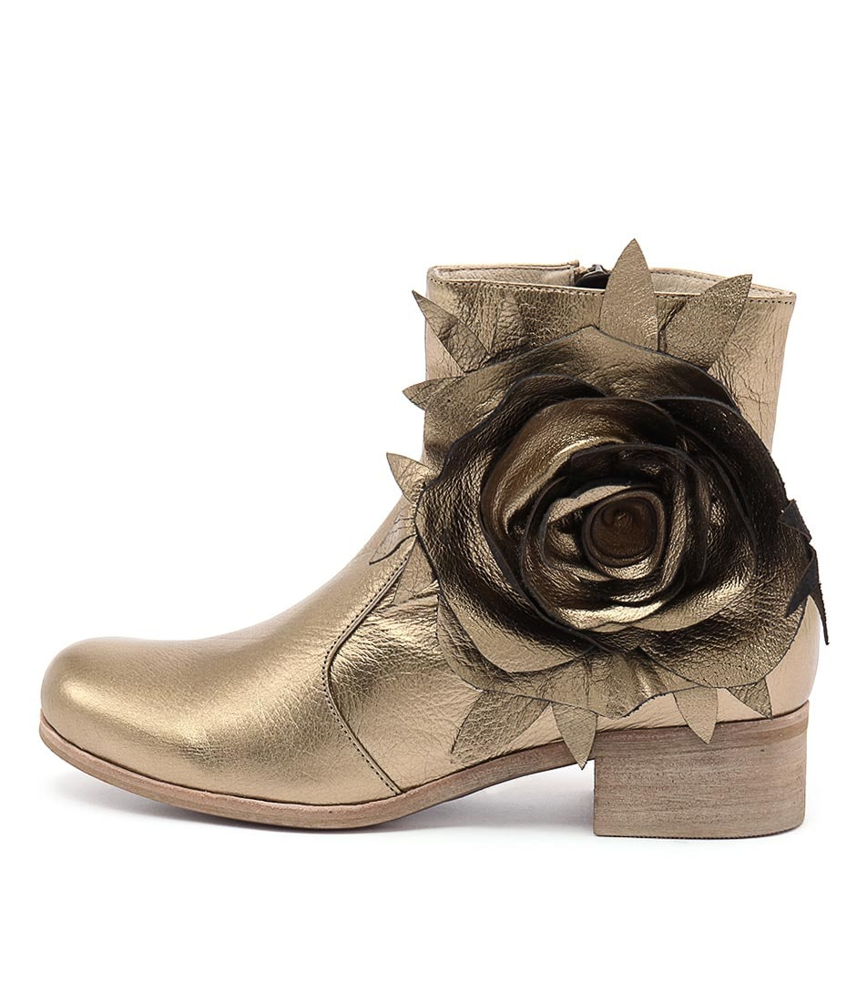 Django & Juliette Liveon Gold Ankle Boots