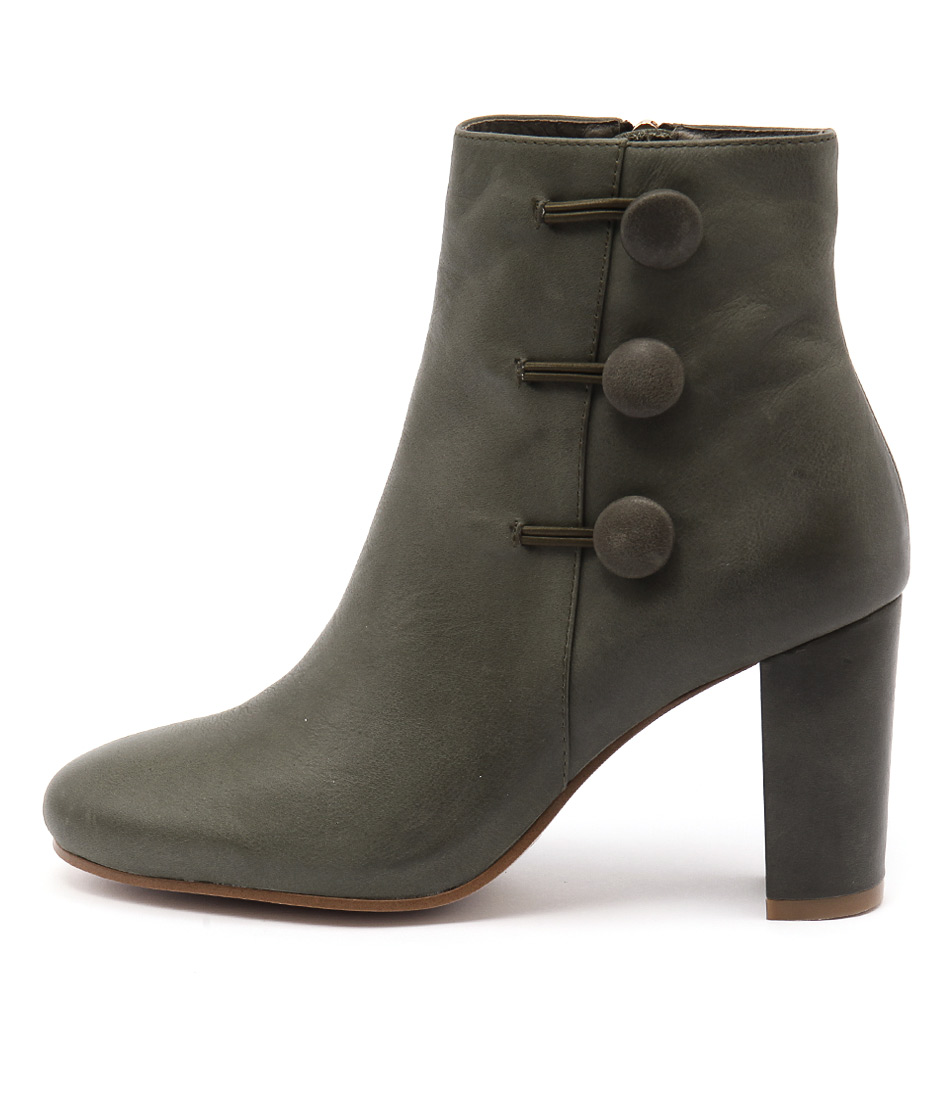 Django & Juliette Macapi Olive Casual Ankle Boots