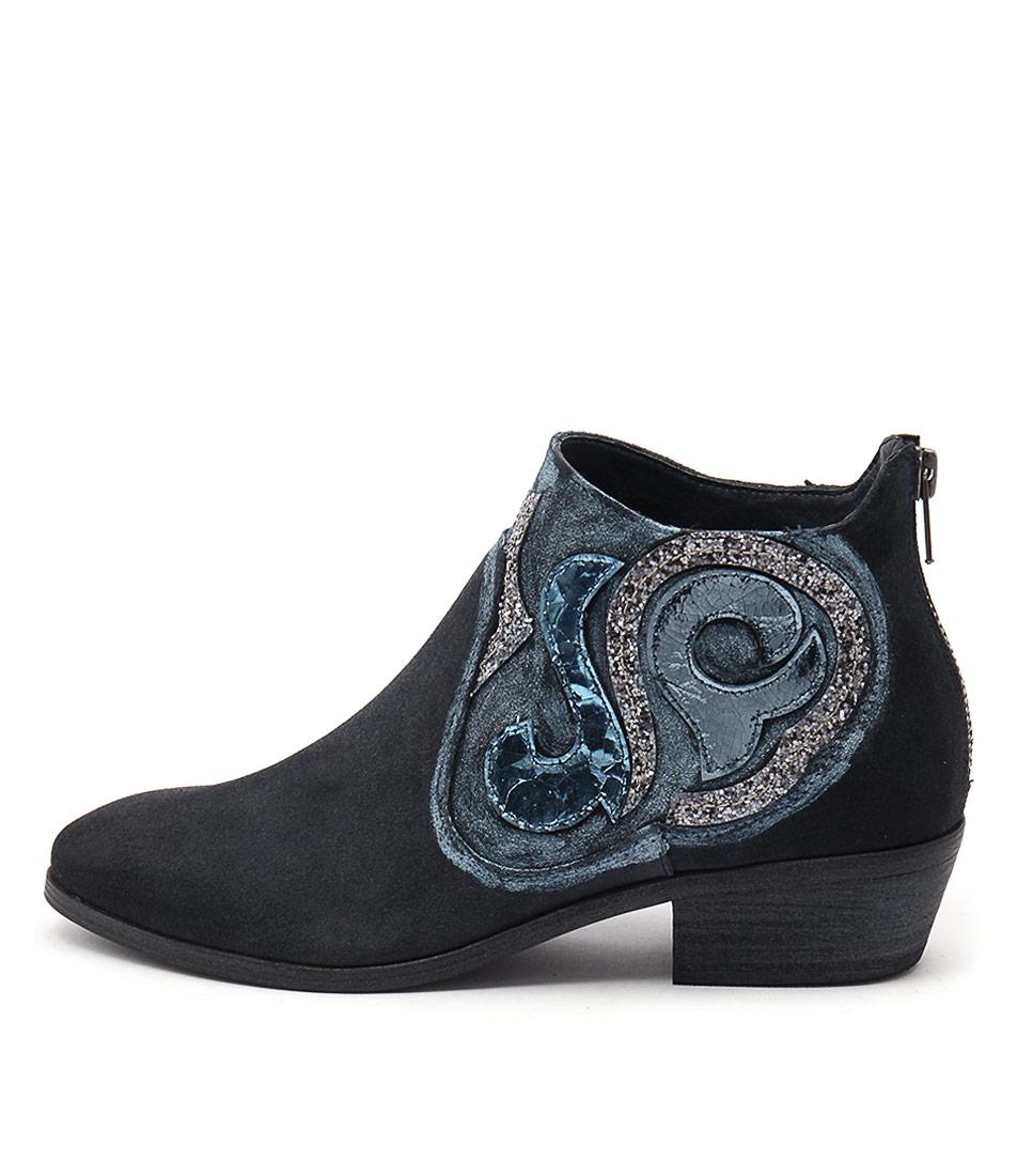 Django & Juliette Narnia Deep Blue Ankle Boots