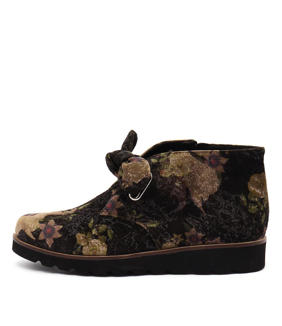 buy Django & Juliette Parama Black Floral Ankle Boots shop Django & Juliette Boots, Ankle Boots online
