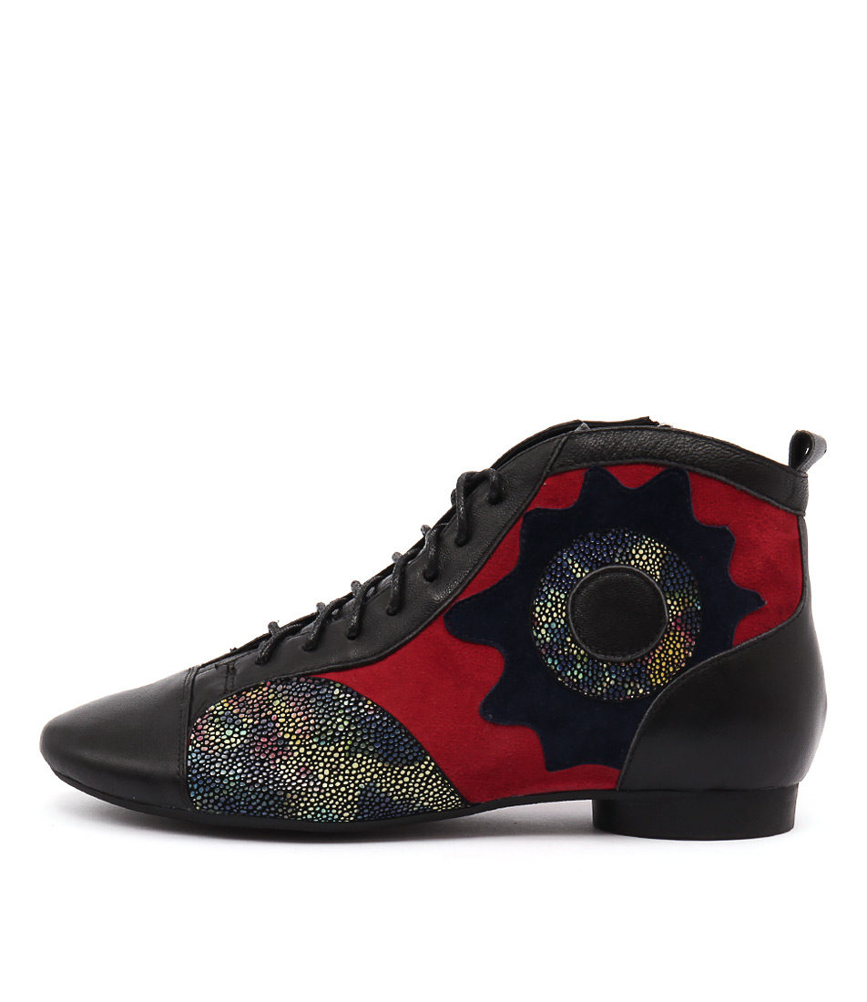 Django & Juliette Quallia Black Multi Red Casual Ankle Boots