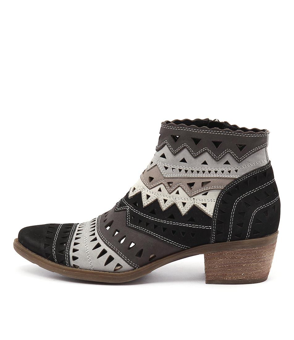 Django & Juliette Sugarm Black Multi Casual Ankle Boots