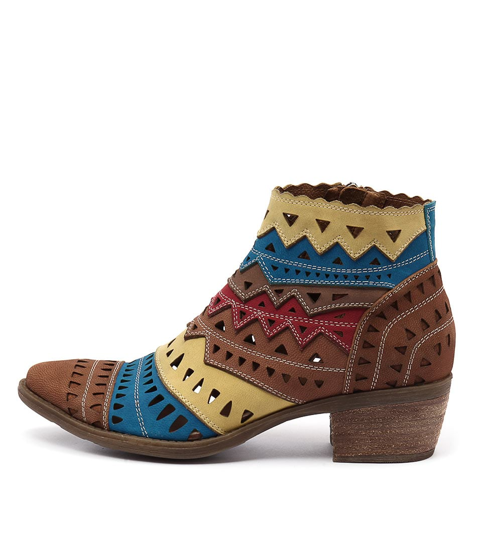 Django & Juliette Sugarm Tan Bright Multi Ankle Boots