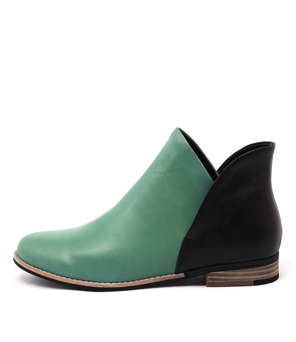 Django & Juliette Aframe Emerald Black Casual Ankle Boots