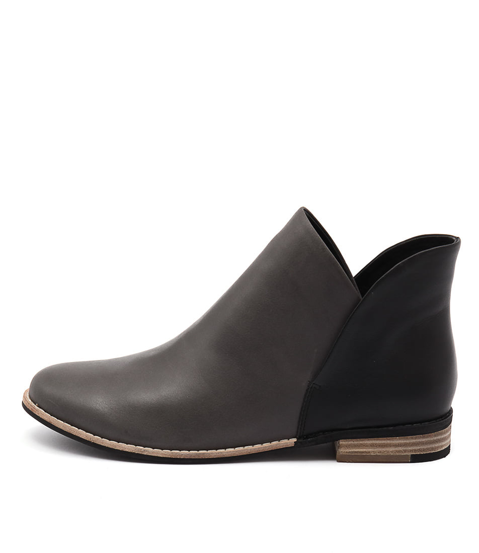 Django & Juliette Aframe Charcoal Black Casual Ankle Boots