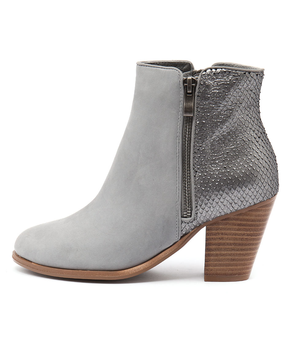 Django & Juliette Carols Blue Grey Blue Grey Metallic Casual Ankle Boots