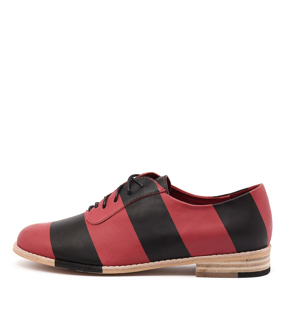 Django & Juliette Adonis Red Black Casual Flat Shoes
