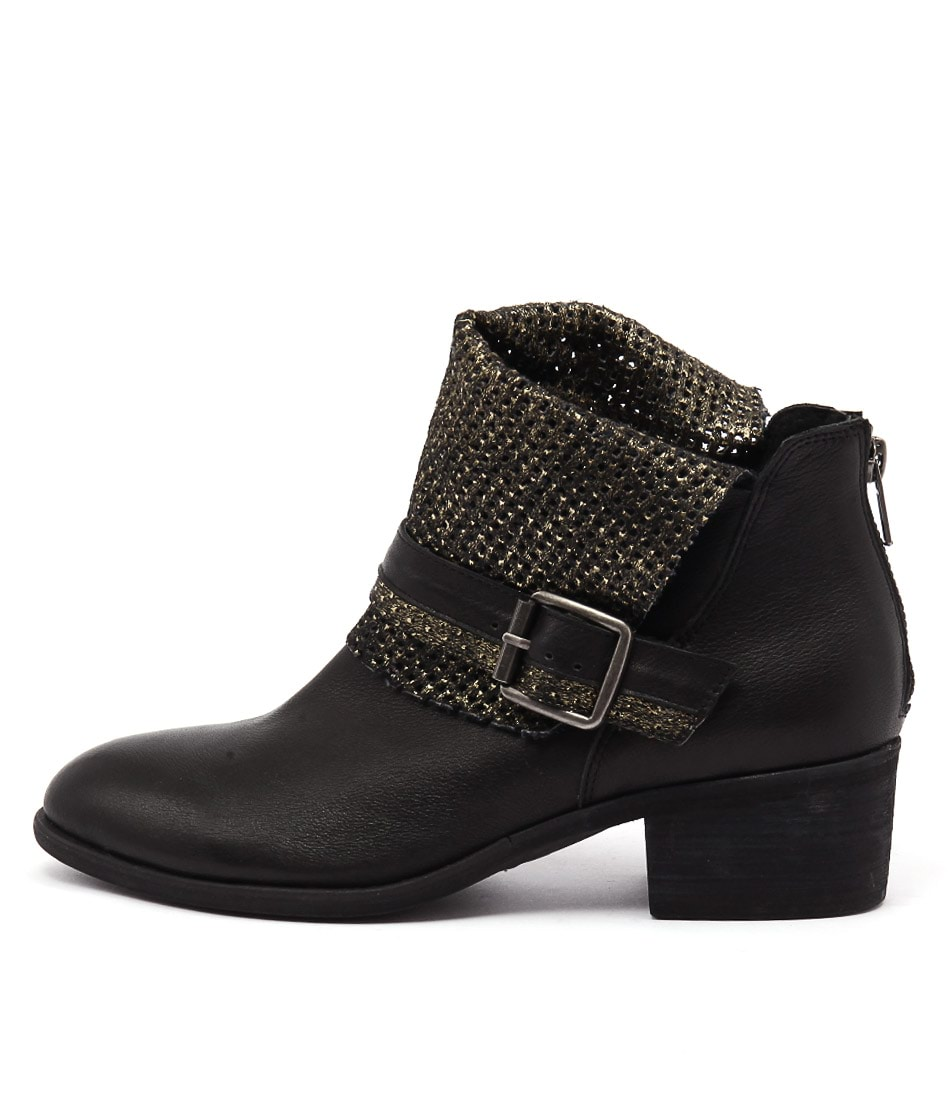 Photo of Django & Juliette Hica Black Black & Gold Ankle Boots womens shoes