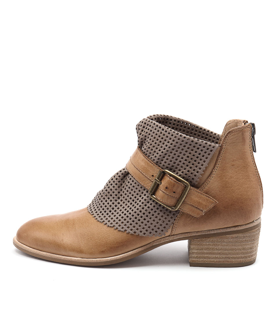 Django & Juliette Hica Dk Tan Taupe Ankle Boots