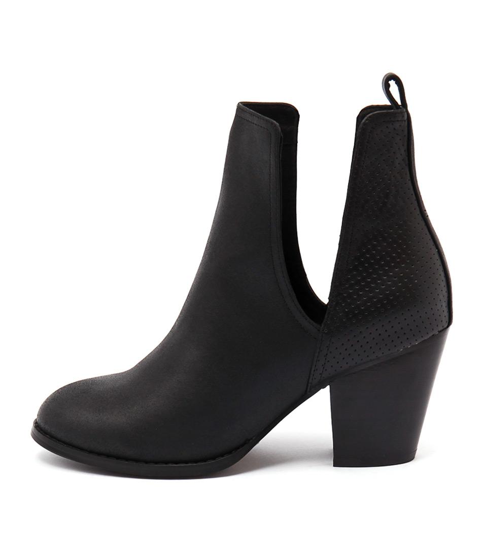 Django & Juliette Ronan Black Casual Ankle Boots