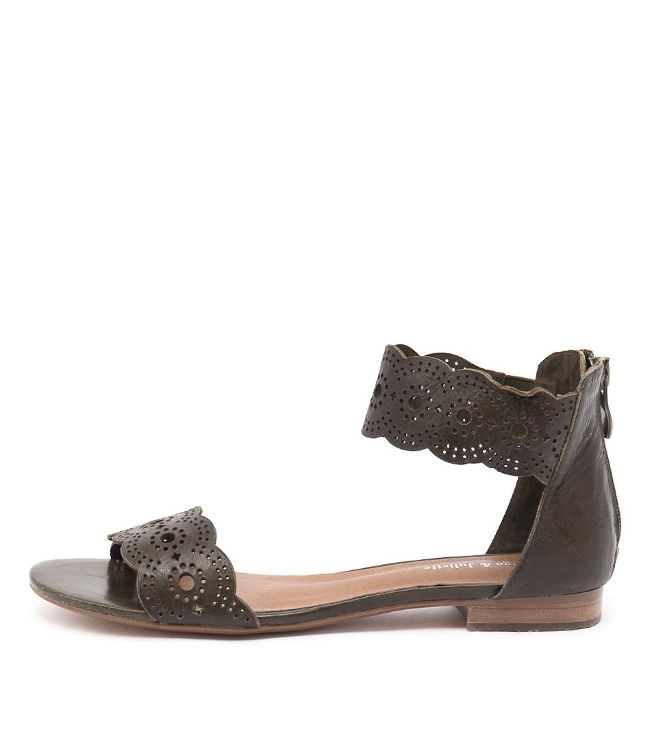 Django & Juliette Palatie Olive Flat Sandals