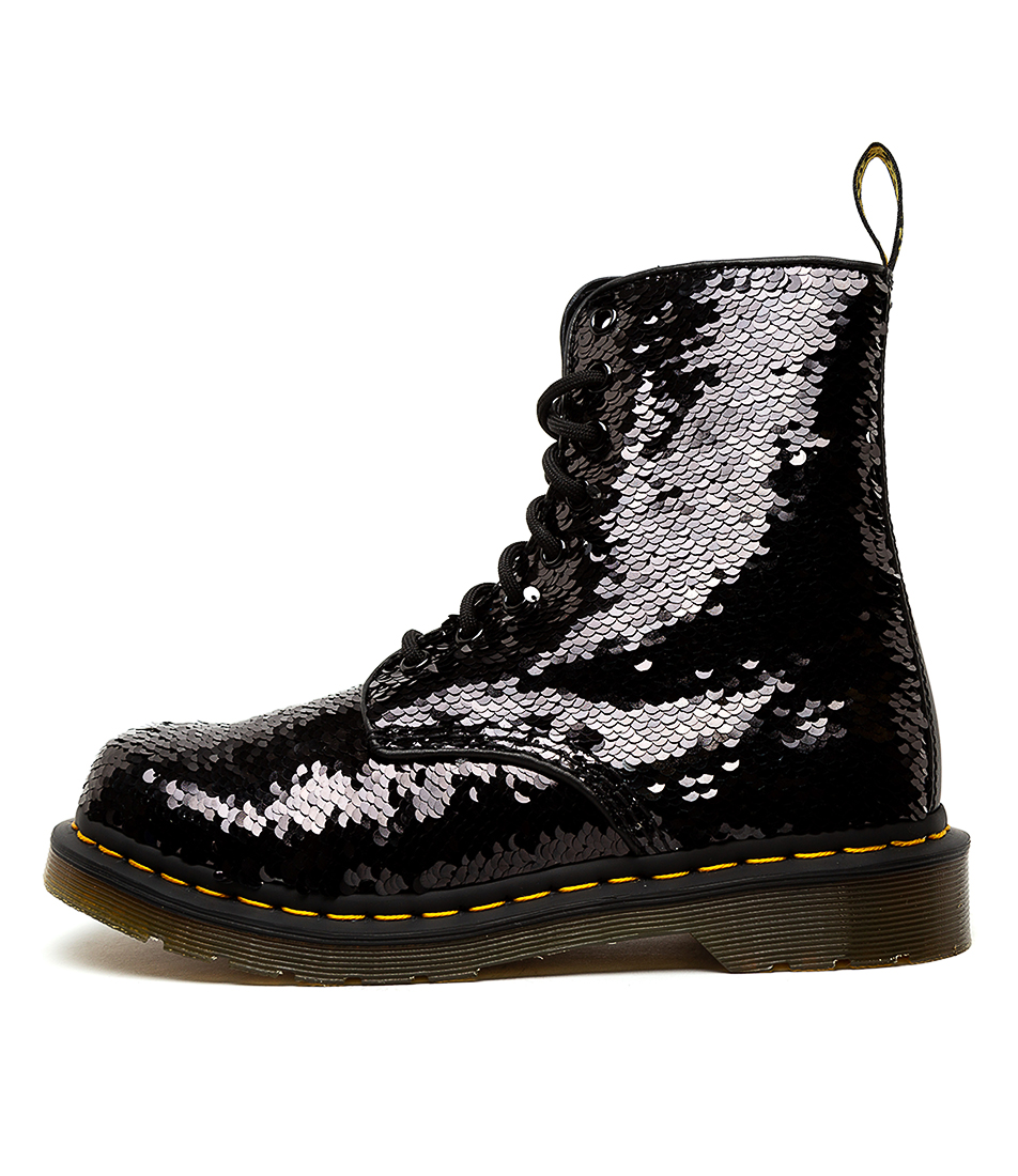 Buy Dr Marten 1460 Pascal Sequin Black Silver Ankle Boots online with free shipping