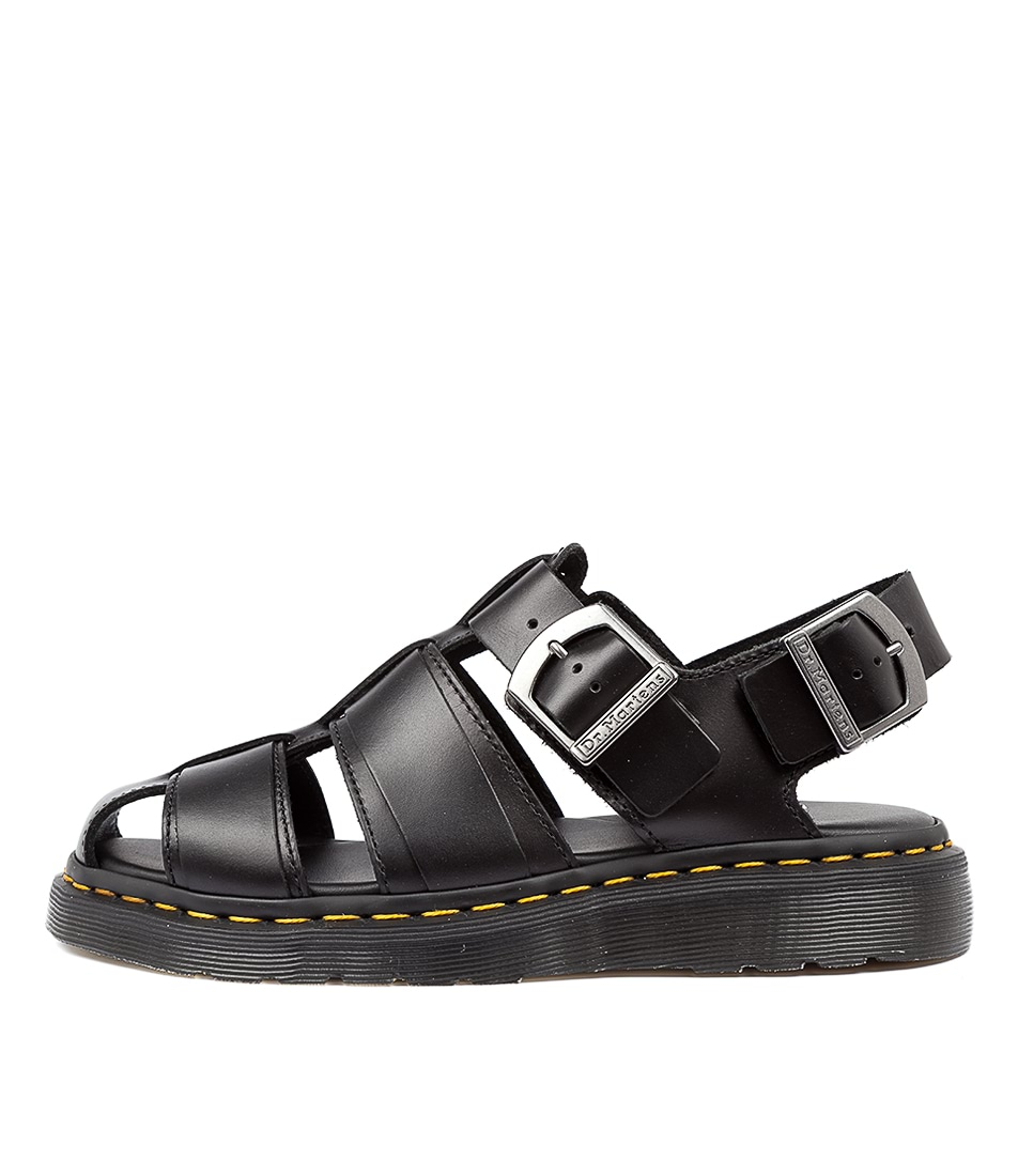 Buy Dr Marten Kassion Black Flat Sandals online with free shipping